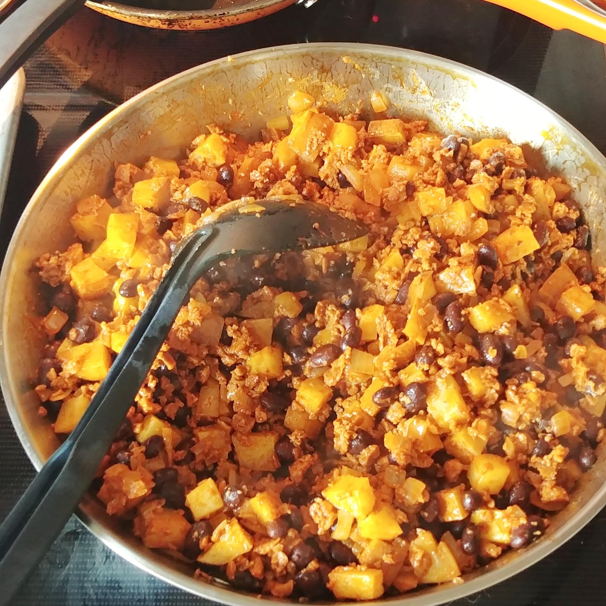 'Chorizo' Sweet Potato and Black Bean Tacos