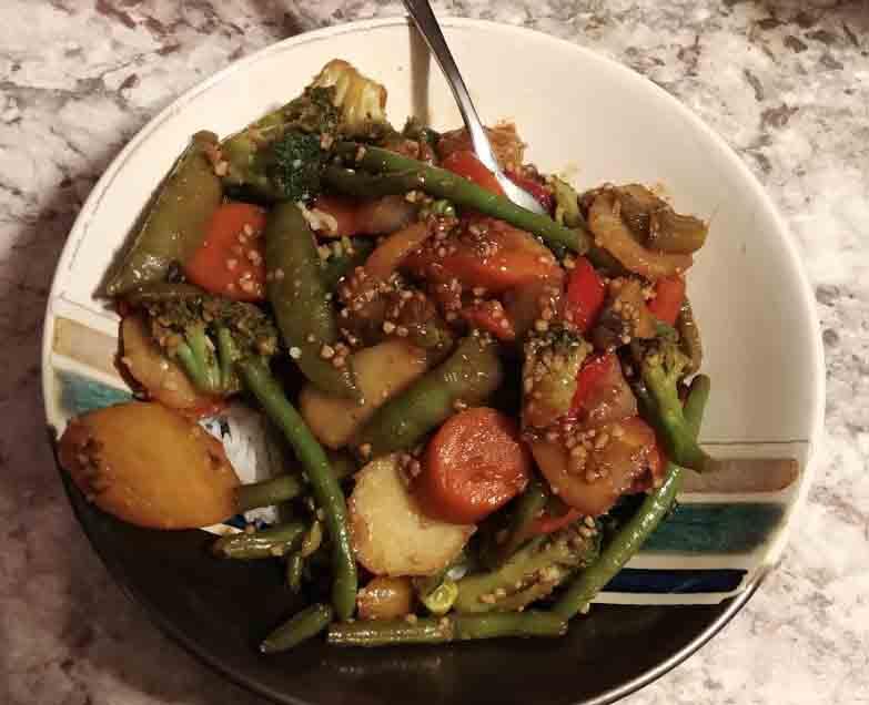 Vegetarian Teriyaki vegetable stir fry