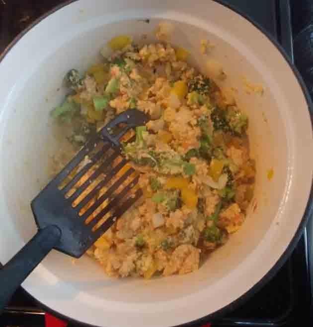 vegetarian breakfast burrito filling cooked