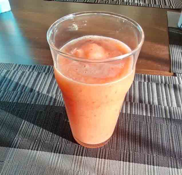 Tropical Island coconut water smoothie with frozen fruit