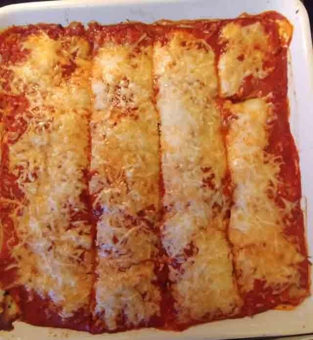 Vegetarian Spinach Lasagna baked and cut