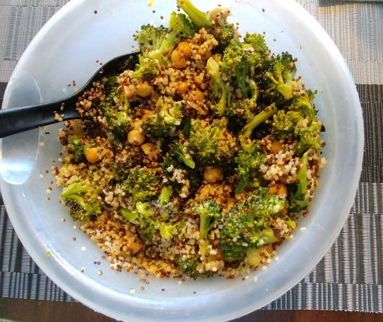 Roasted Chickpeas, Broccoli, and Quinoa Buddha Bowl