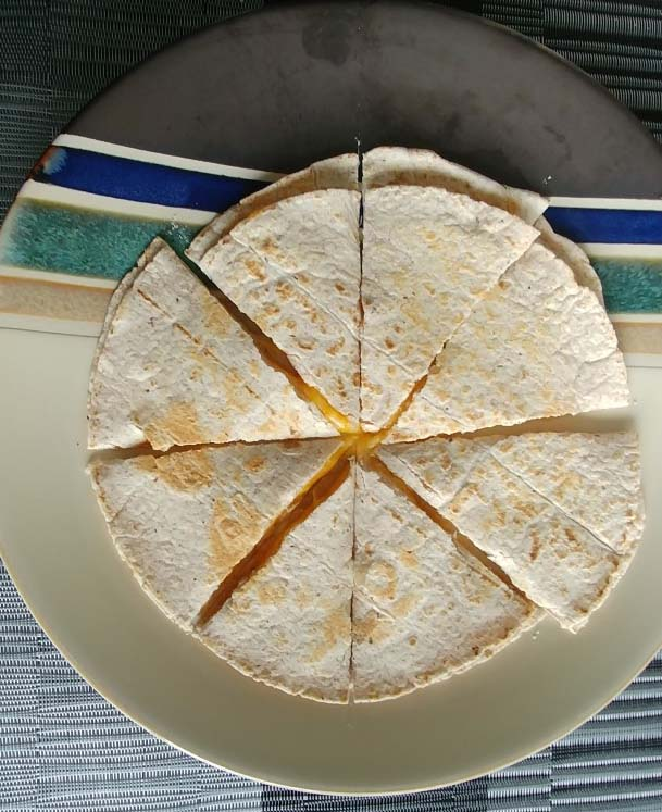 Vegetarian Cheese and Vegetable Quesadilla sliced