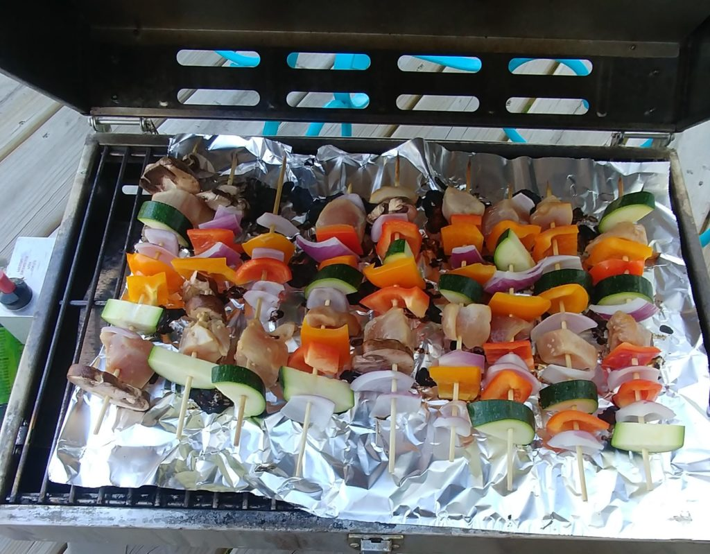 Grilled Veggie and Teriyaki Chicken Kebabs