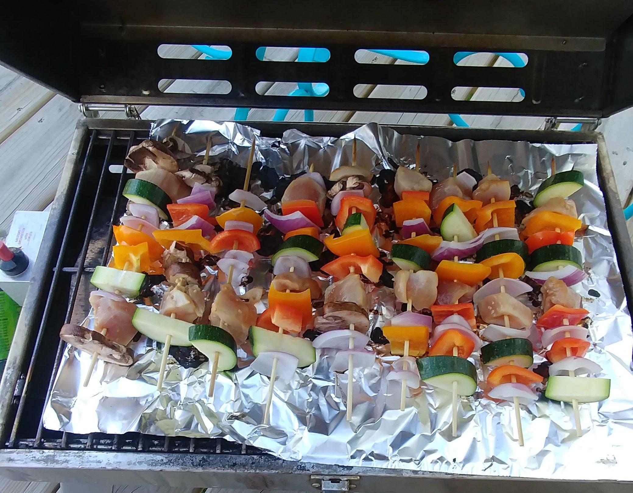 Grilled Veggie and Teriyaki Chicken Kebabs