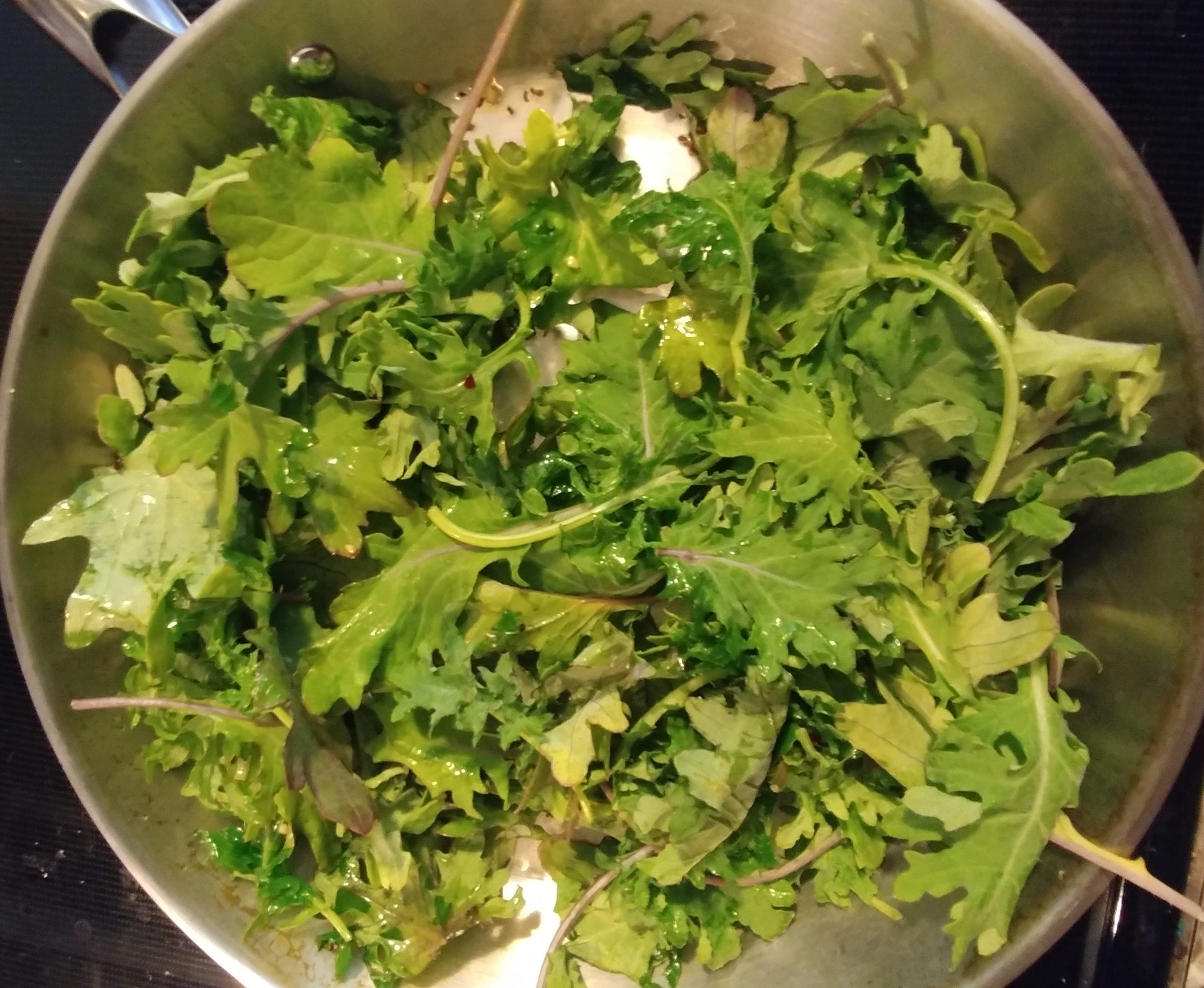 Spicy Garlicky Sautéed Kale and Spinach in Pan