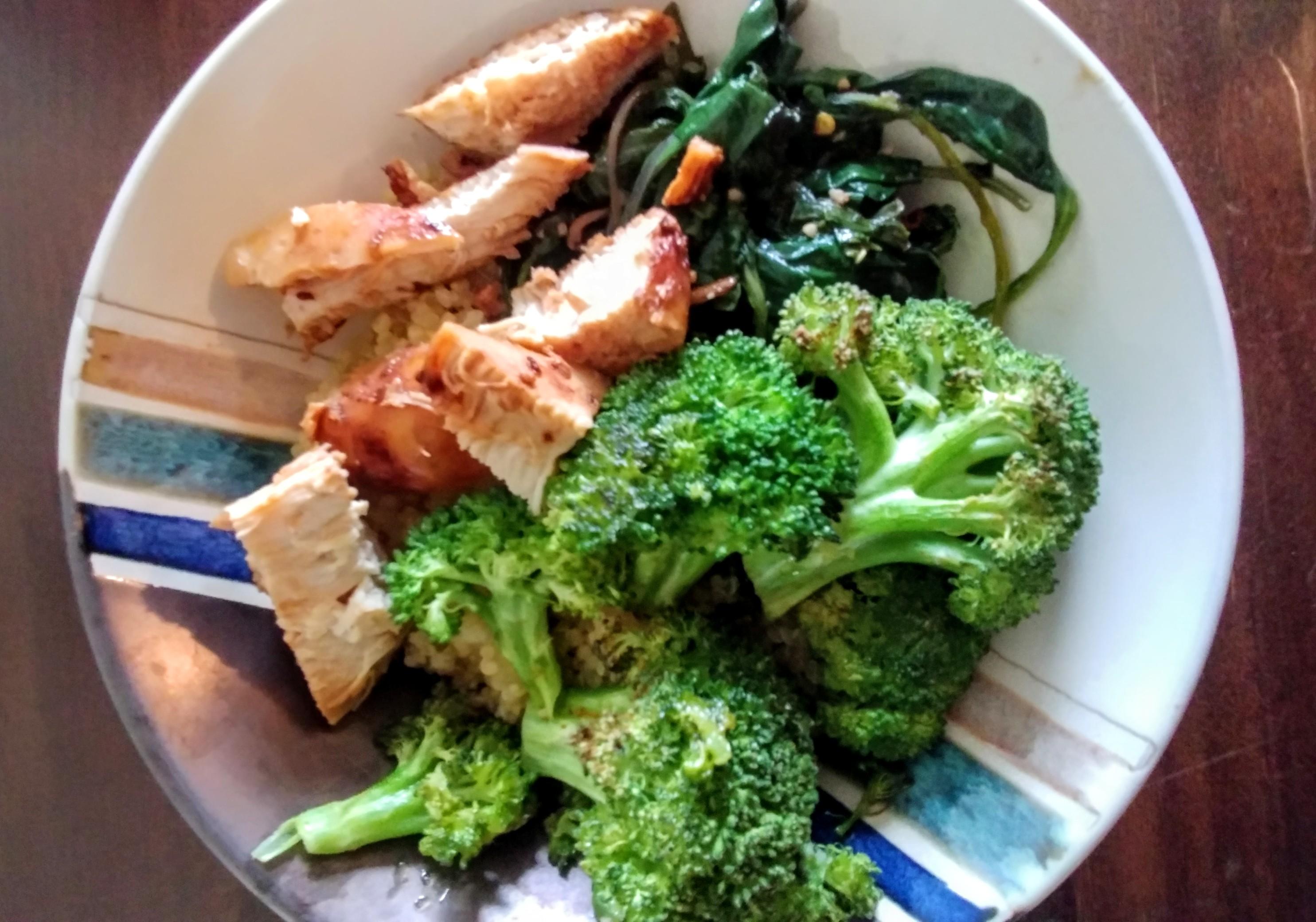 Teriyaki Chicken with roasted broccoli, sautéed garlicky spinach and quinoa bowl