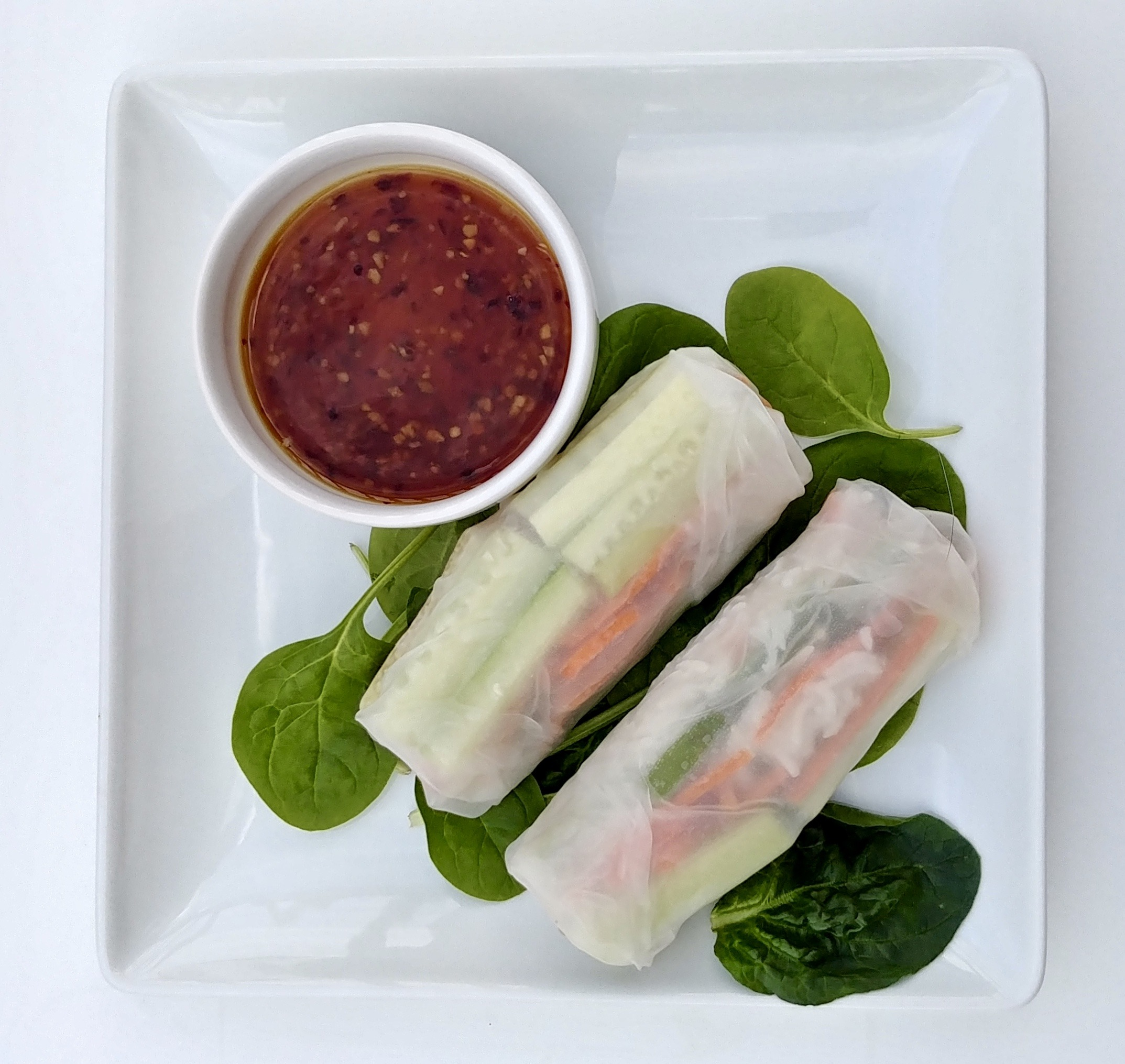 Vegetable Spring Rolls with Spicy Thai Sauce