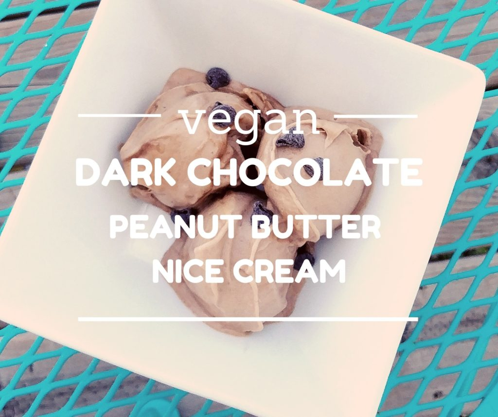 peanut butter chocolate nice cream with text of title of blog post