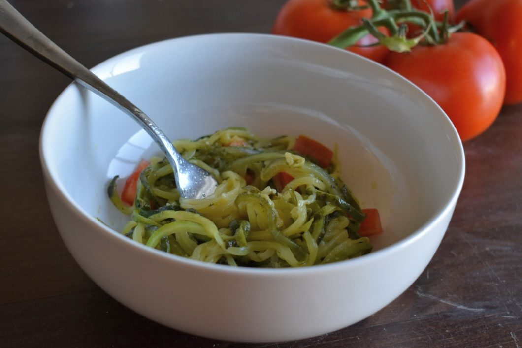 Bowl of Pesto Zoodles with Tomatoes