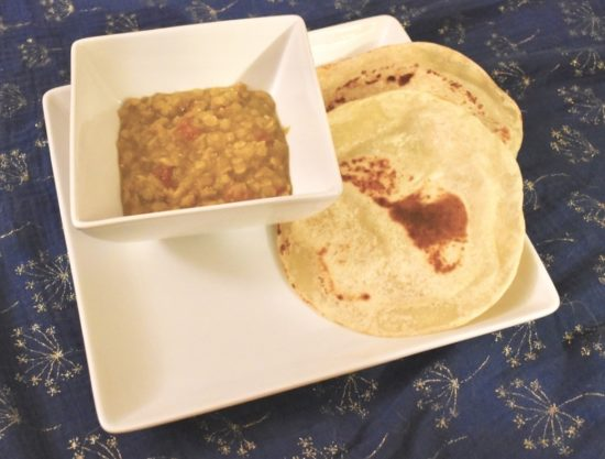 Instant pot Dal Tadka served with a side of roti